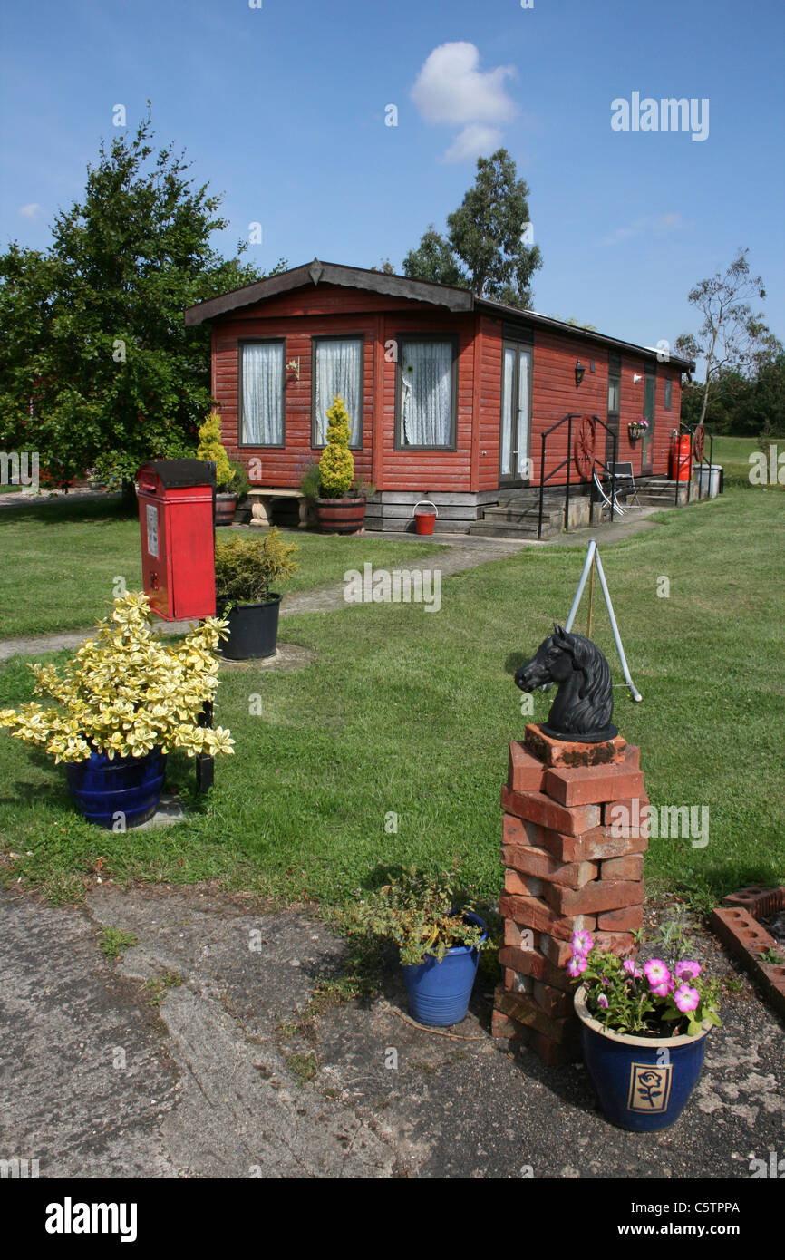 Log Cabin Holiday Home Lincolnshire, UK - Stock Image