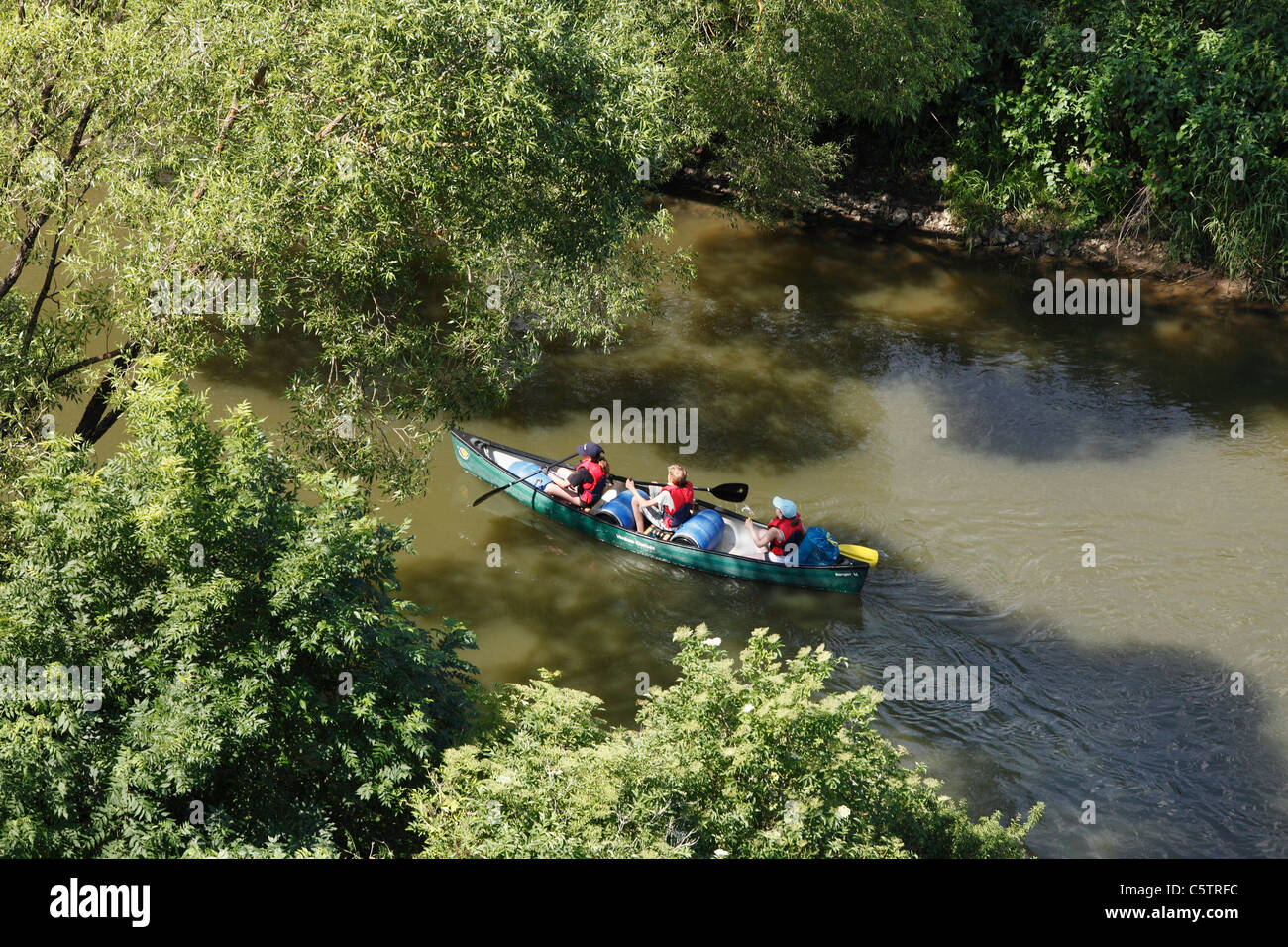 Germany, Bavaria, Franconia, Middle Franconia, View of canoe on altmuehl river, - Stock Image