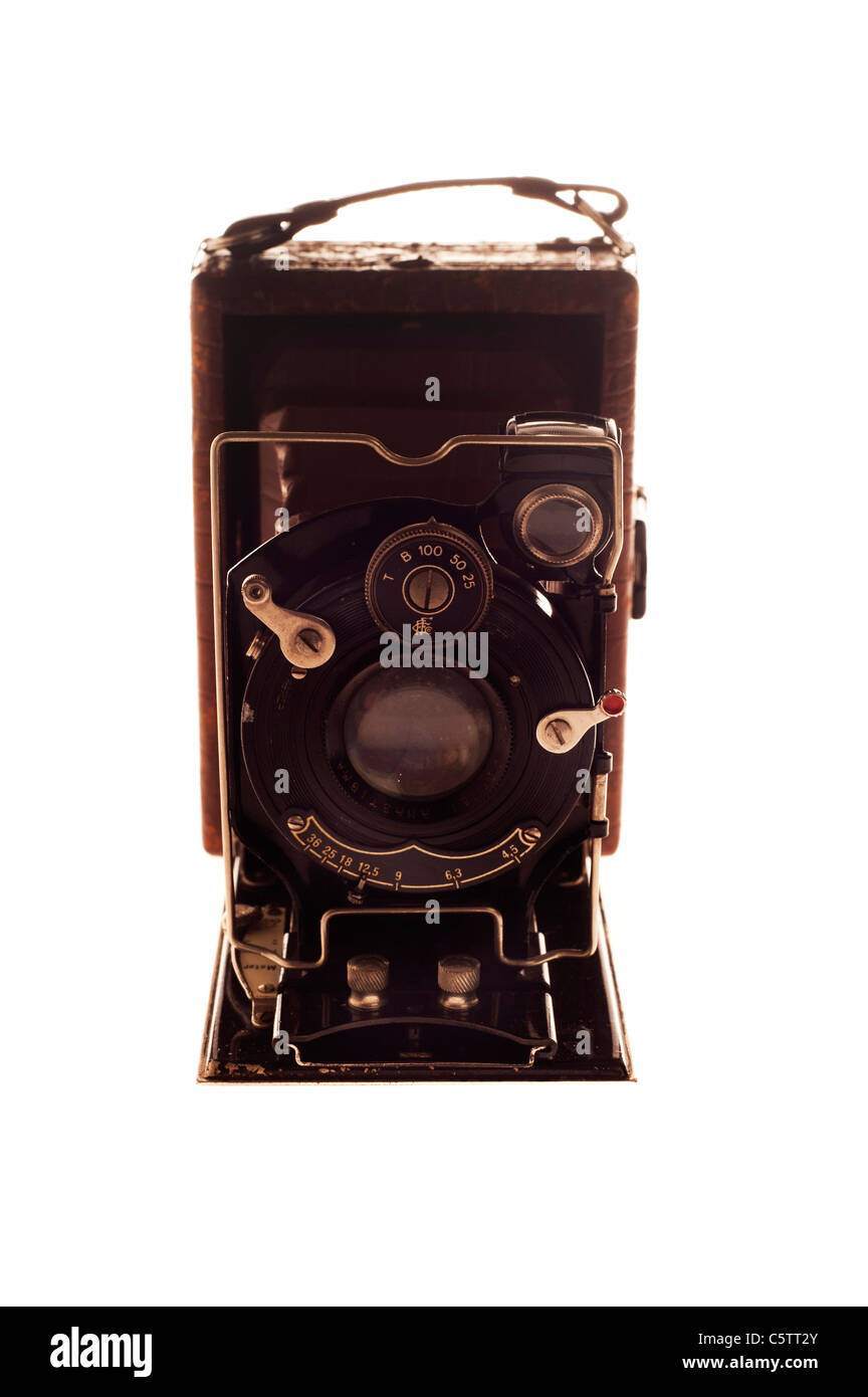 antique Foth plate camera, model made in 1931 in Germany, with leather bellow - Stock Image