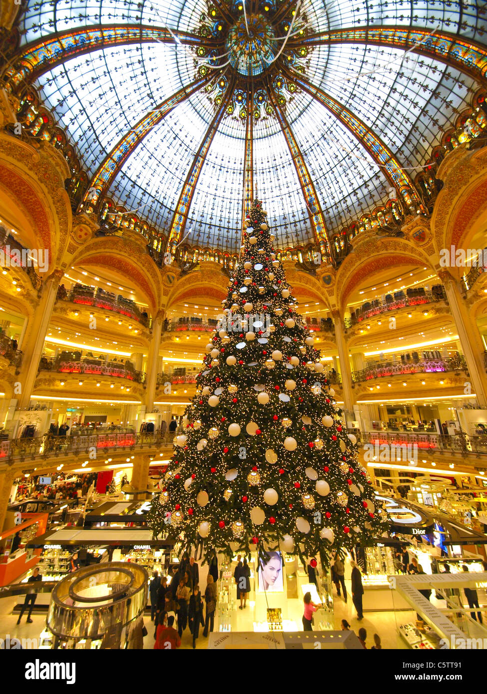 paris shopping mall galeries lafayette france stock photo