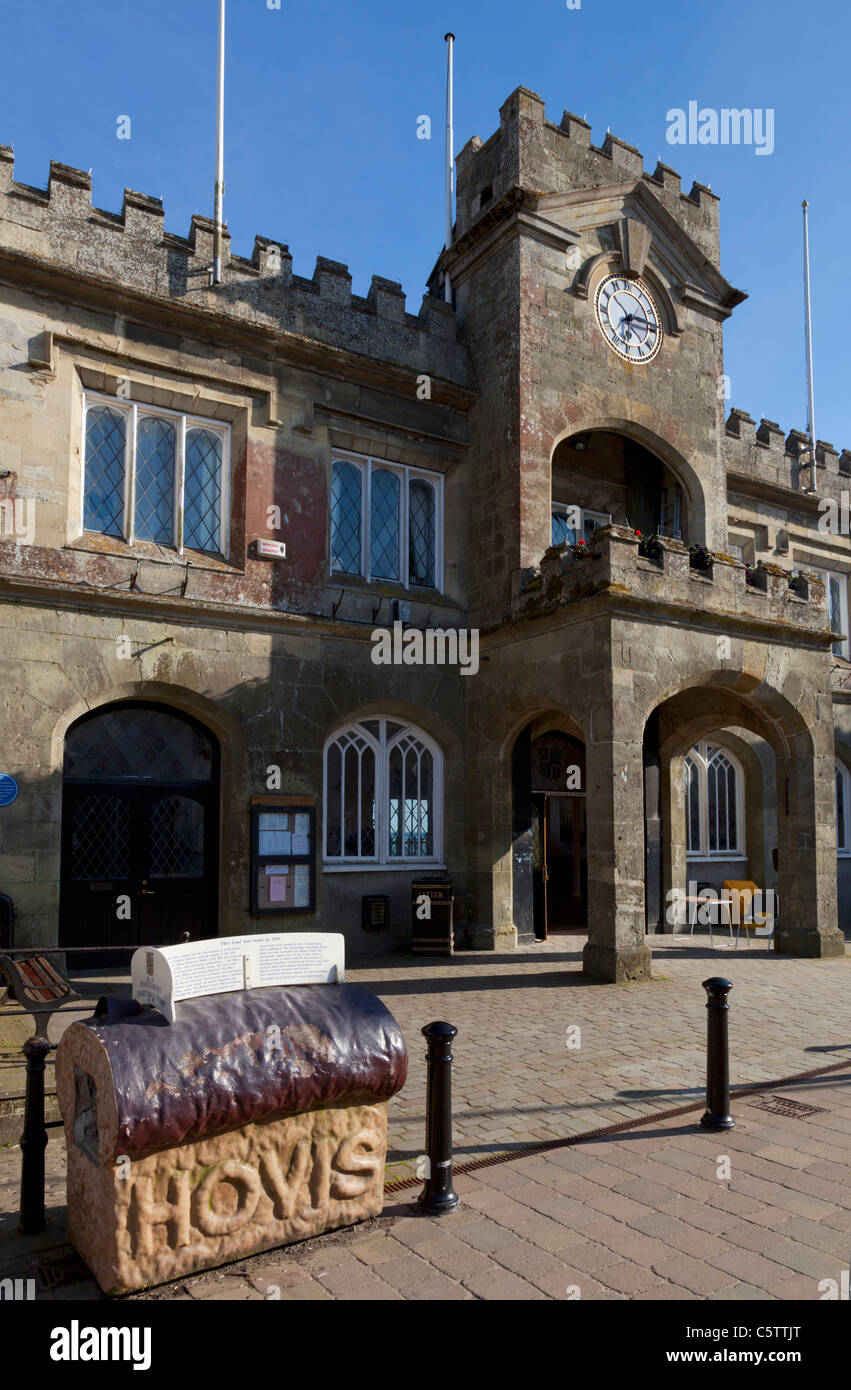 Shaftesbury Town Hall with Hovis loaf model outside it Dorset England UK GB EU Europe - Stock Image