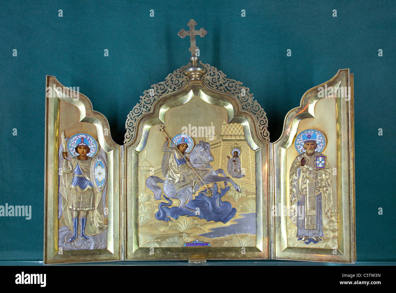 Triptych of St George and the Dragon, St George Cathedral Museum, Addis Ababa, Ethiopia - Stock Image