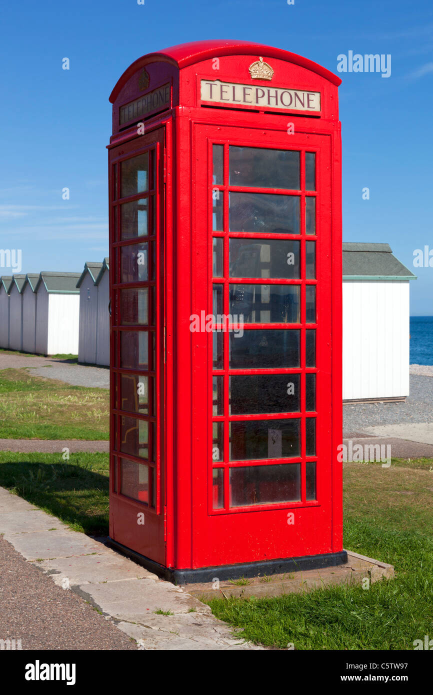 Red Telephone Box Budleigh Salterton Devon England UK - Stock Image