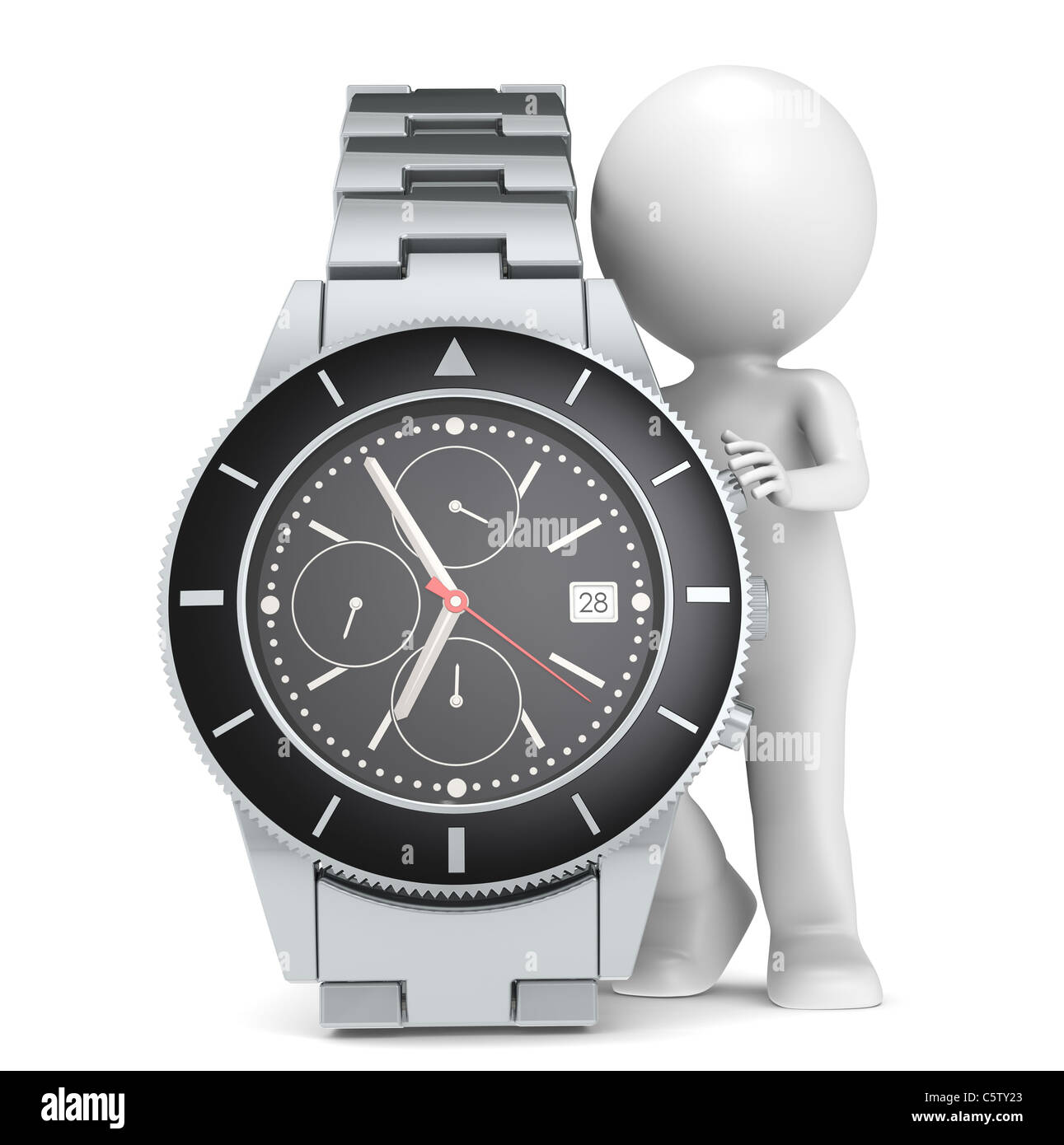 3D little human character with a Chronograph Watch - Stock Image