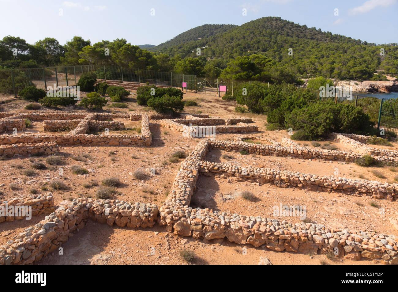 Ibiza, Balearics, Spain - Sa Caleta, Punic settlement archaeological site. Poblat fenici, Phoenician pueblo village - Stock Image