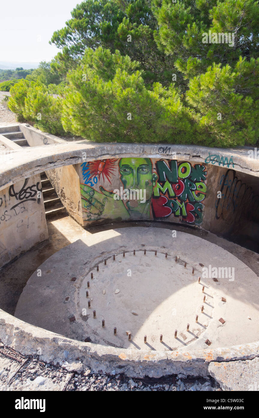 Ibiza - Sa Caleta, remains of old coastal gun emplacement defences - due for museum conservation with Euro funding - Stock Image