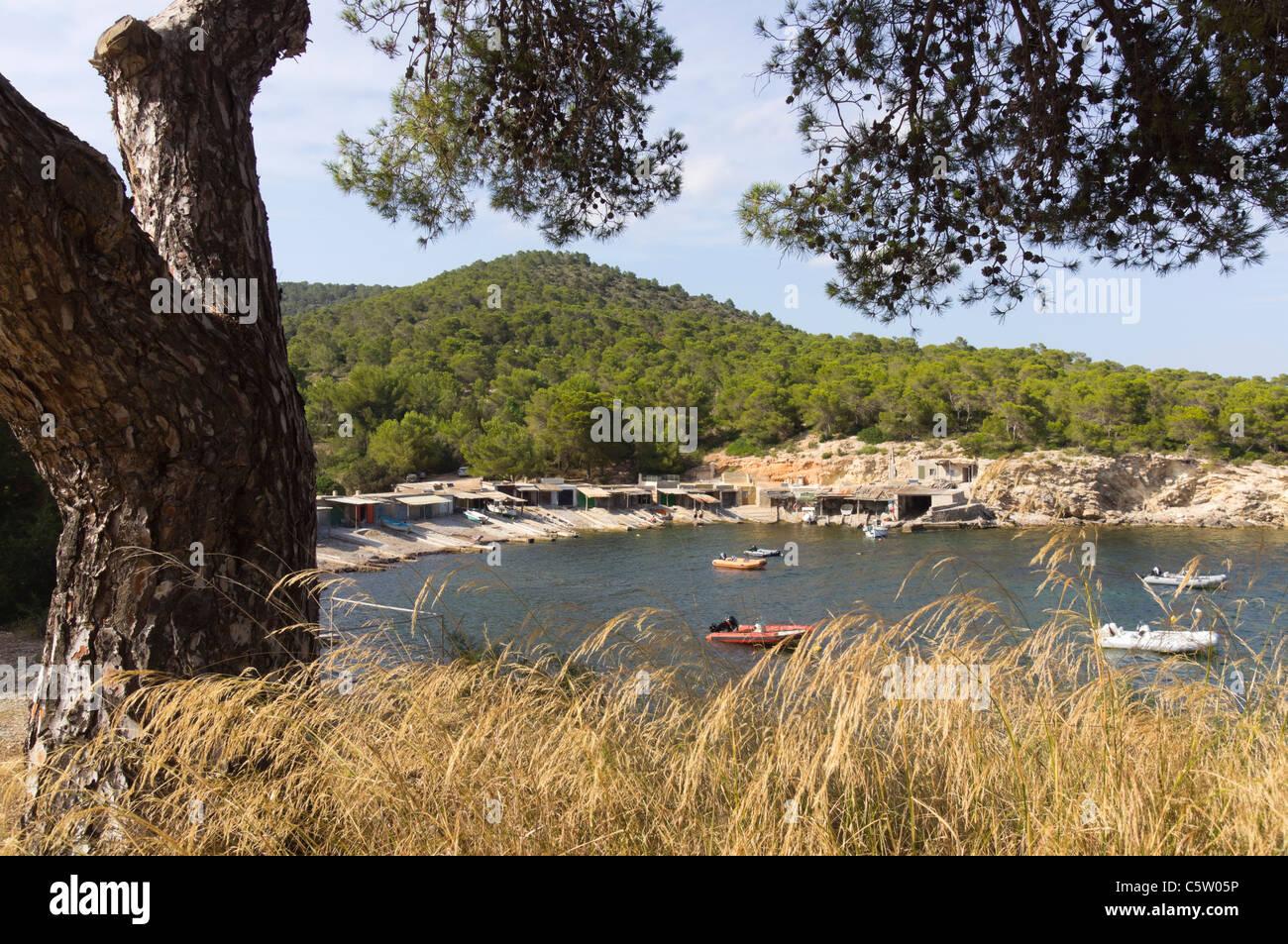 Ibiza, Balearics, Spain - Sa Caleta bay and beach - Stock Image