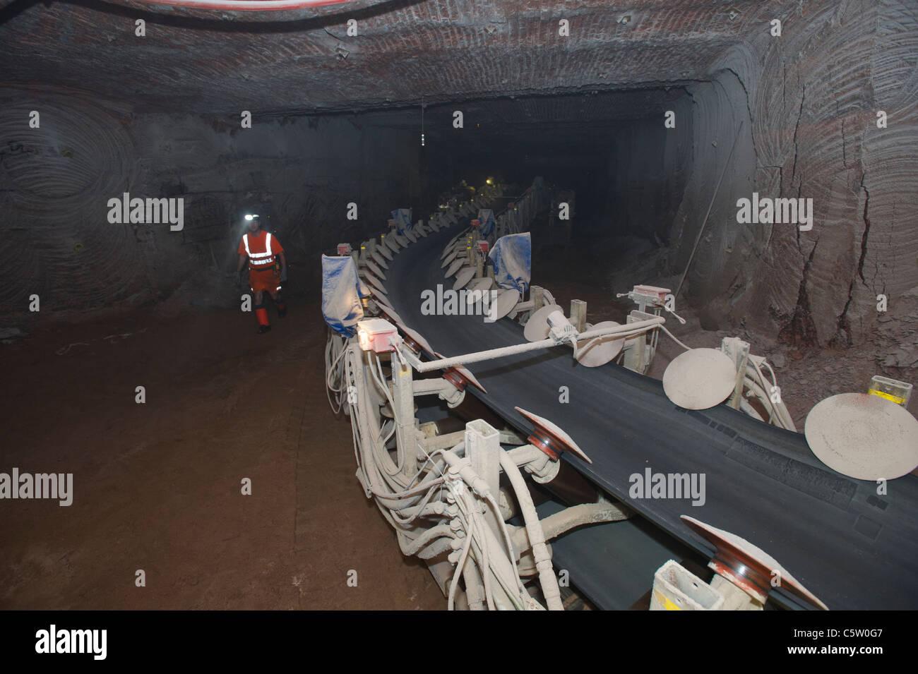 Conveyor belt Boulby Potash mine - Stock Image