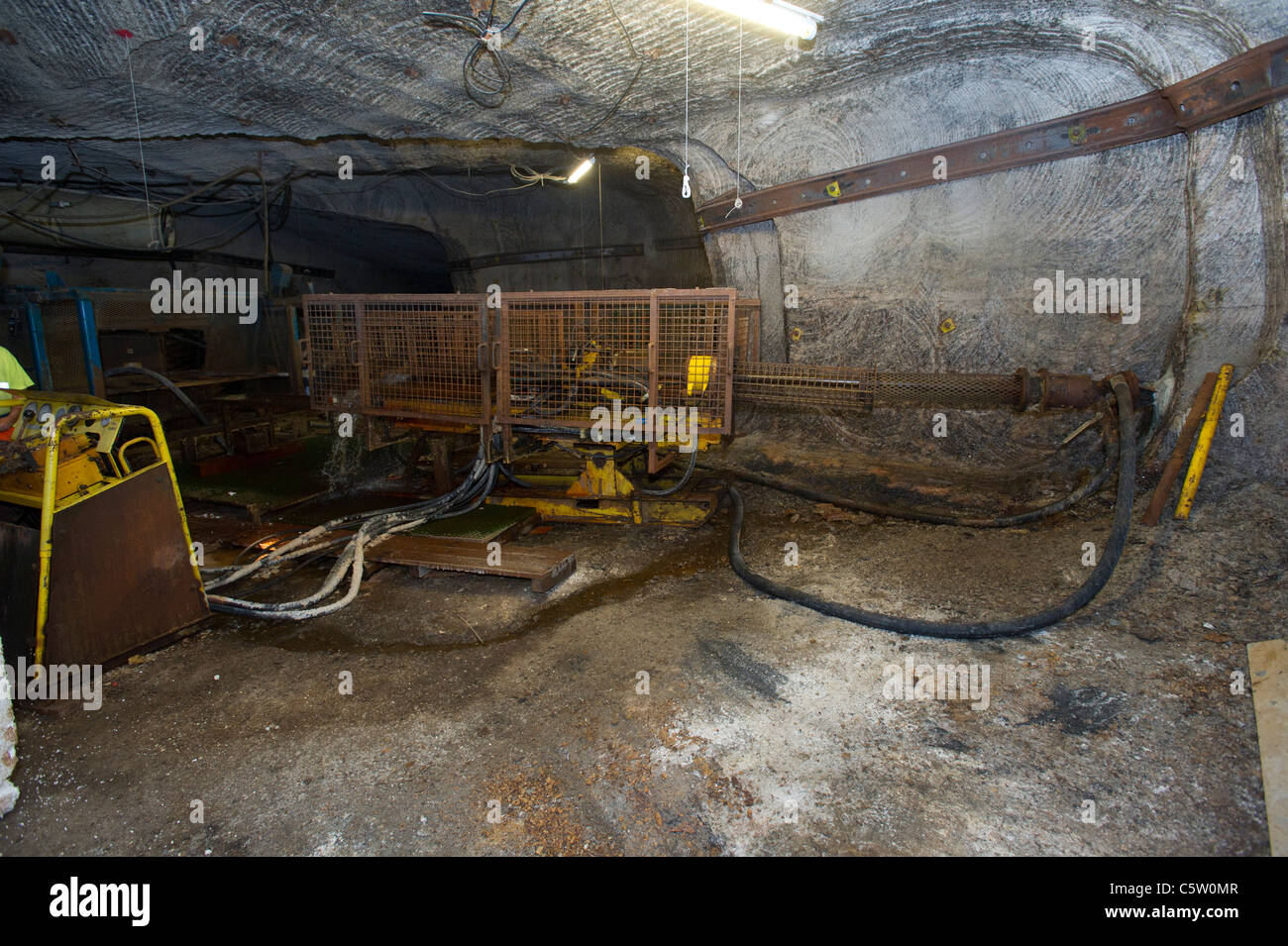 Drilling a core sample in Boulby Potash mine - Stock Image