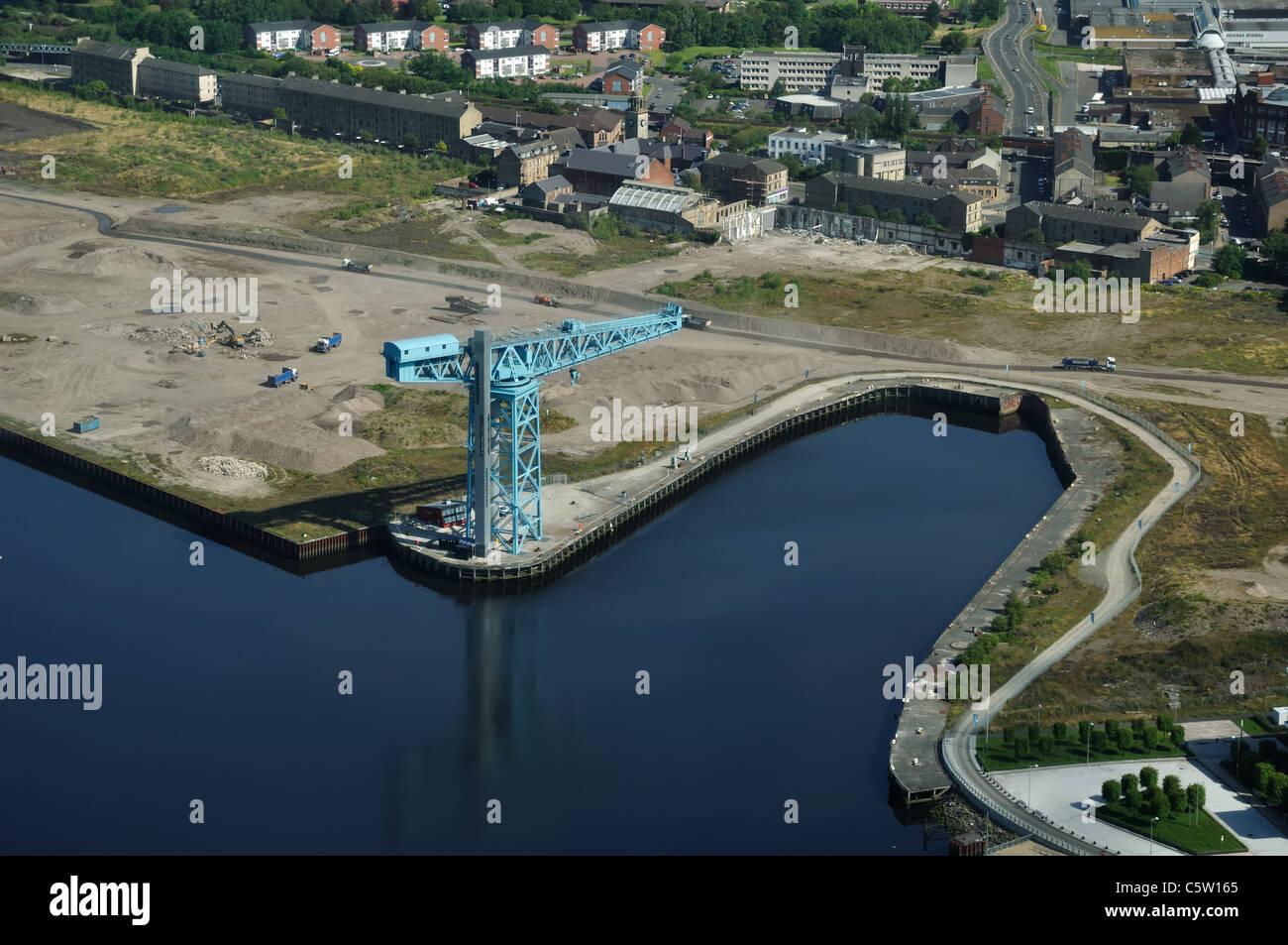 Titan Clydebank is a 150-foot-high cantilever crane at Clydebank, West Dunbartonshire, Scotland which was heavily - Stock Image