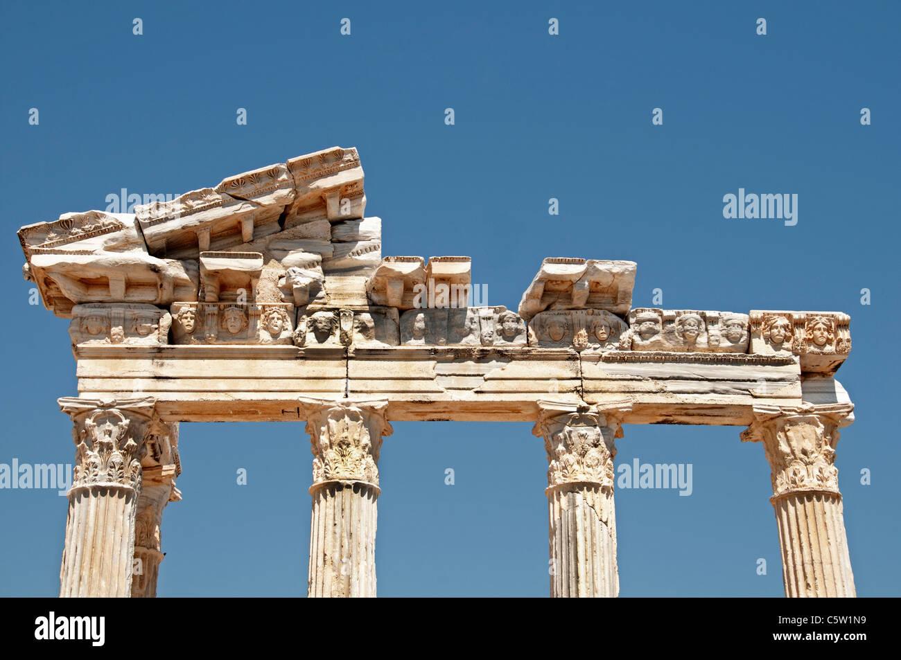 Side Turkey Temple of Apollo Athena Apollon Roman - Stock Image