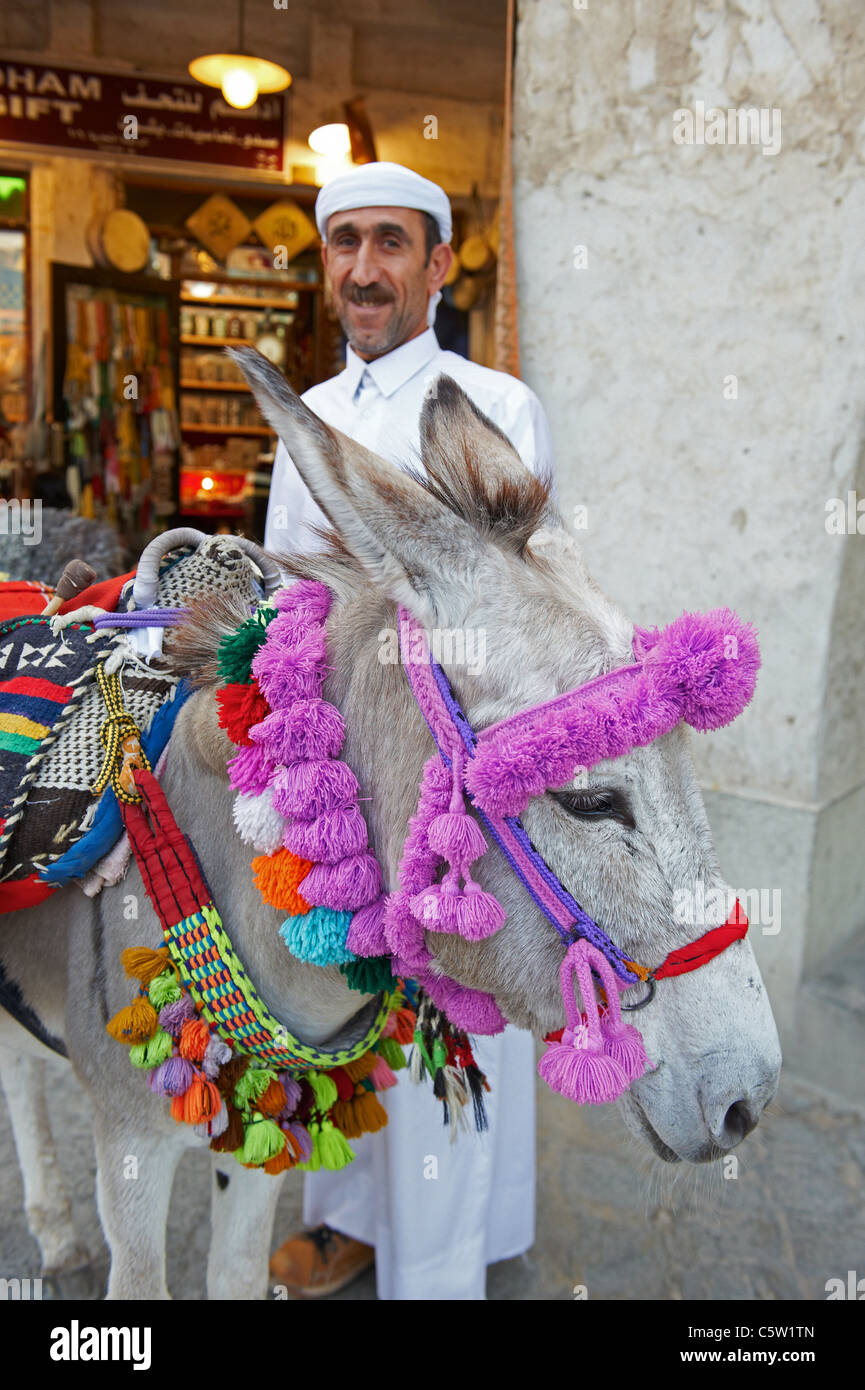 man with donkey waqif souhk - Stock Image
