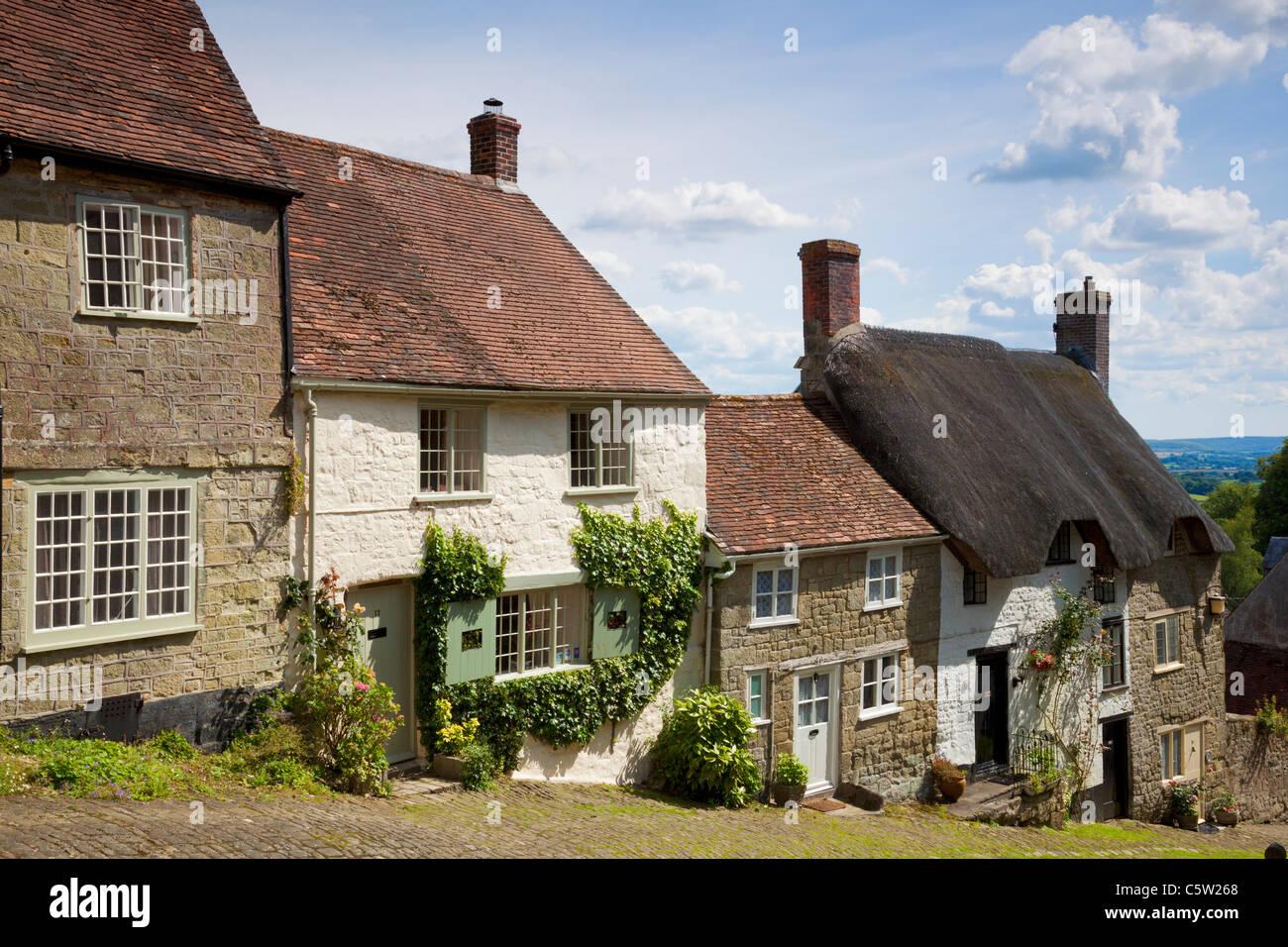 Gold Hill  Shaftesbury, Dorset, England  UK GB EU Europe - Stock Image