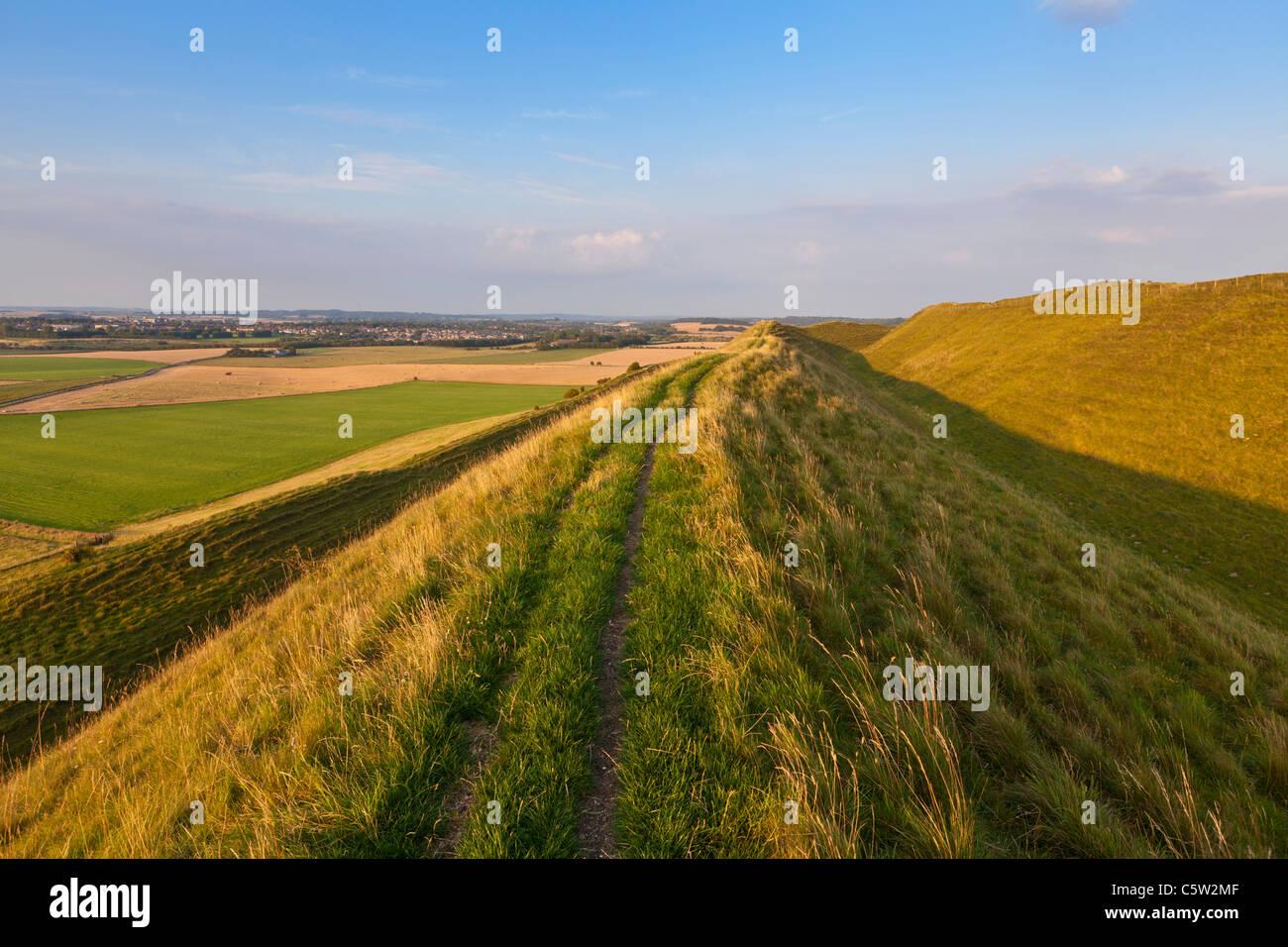 Maiden Castle an Iron Age hill fort near Dorchester Dorset England UK GB EU Europe Stock Photo