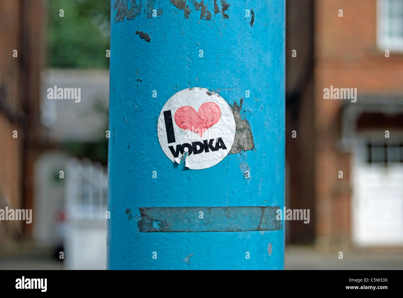 i love vodka sticker on a lamppost in chiswick, west london, england - Stock Image