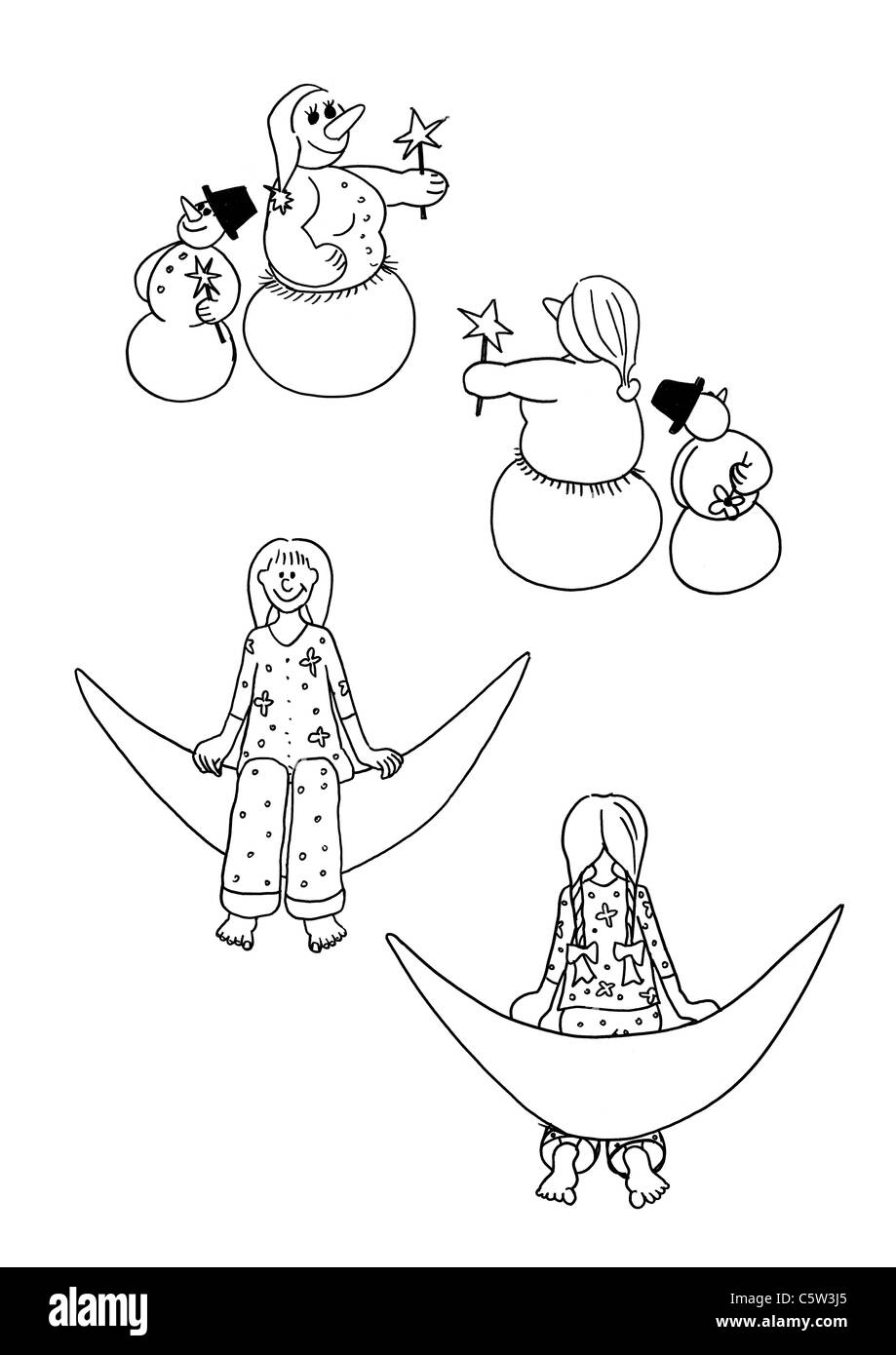 Illustration, Snowman and Snow woman and  girl sitting on  moon - Stock Image