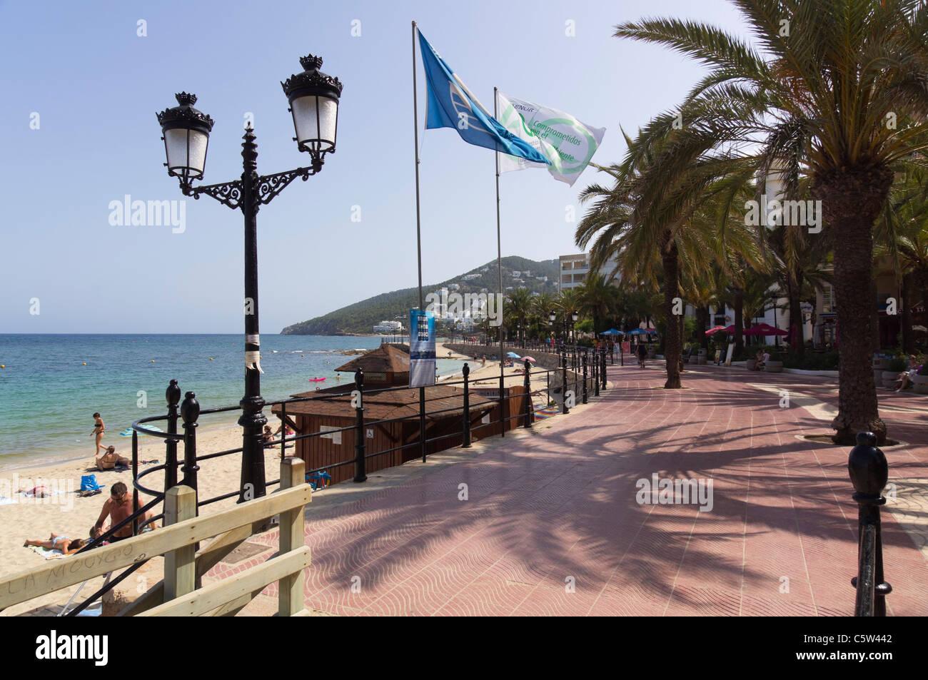 Ibiza, Balearics, Spain - Santa Eularia, beach resort on the east coast. Promenade. - Stock Image