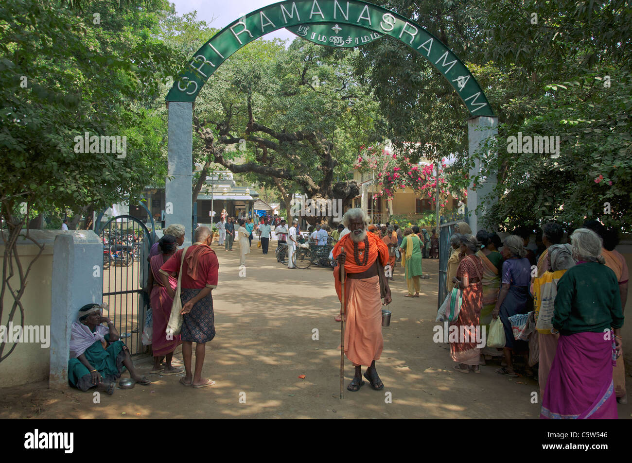 Entrance Sri Ramana Ashram Tiruvannamalai Tamil Nadu South India - Stock Image