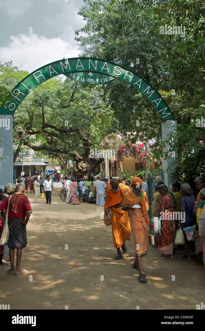 Entrance Sri Ramana Ashram Tiruvannamalai Tamil Nadu South India Stock Photo