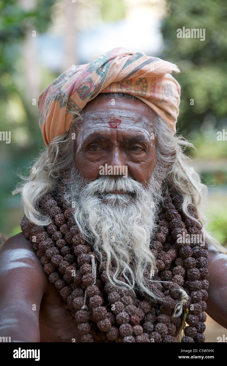 Portrait white bearded sadhu Sri Ramana Ashram Tiruvannamalai Tamil Nadu South India - Stock Image
