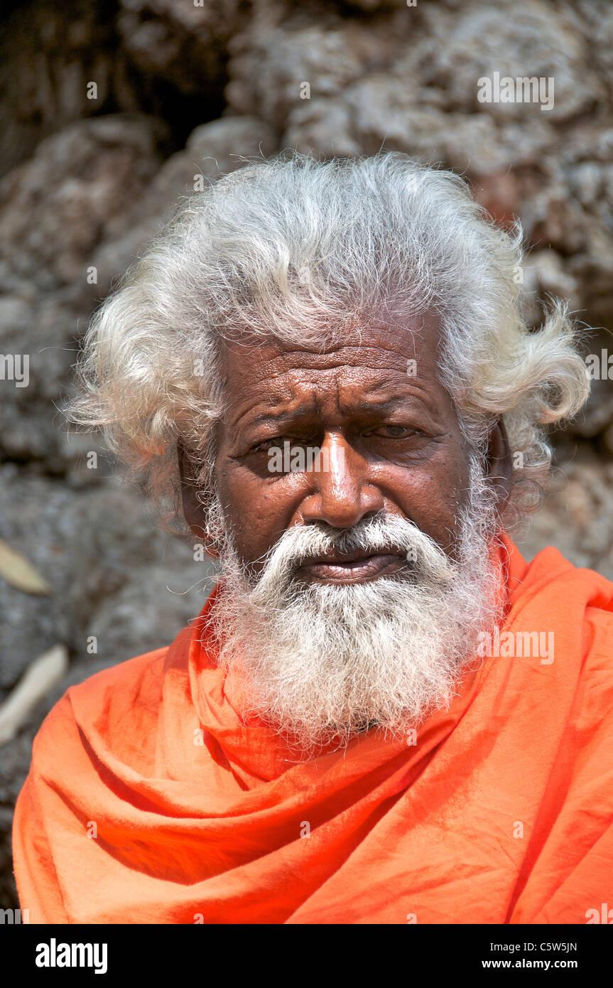 Portrait white haired sadhu Sri Ramana Ashram Tiruvannamalai Tamil Nadu South India - Stock Image