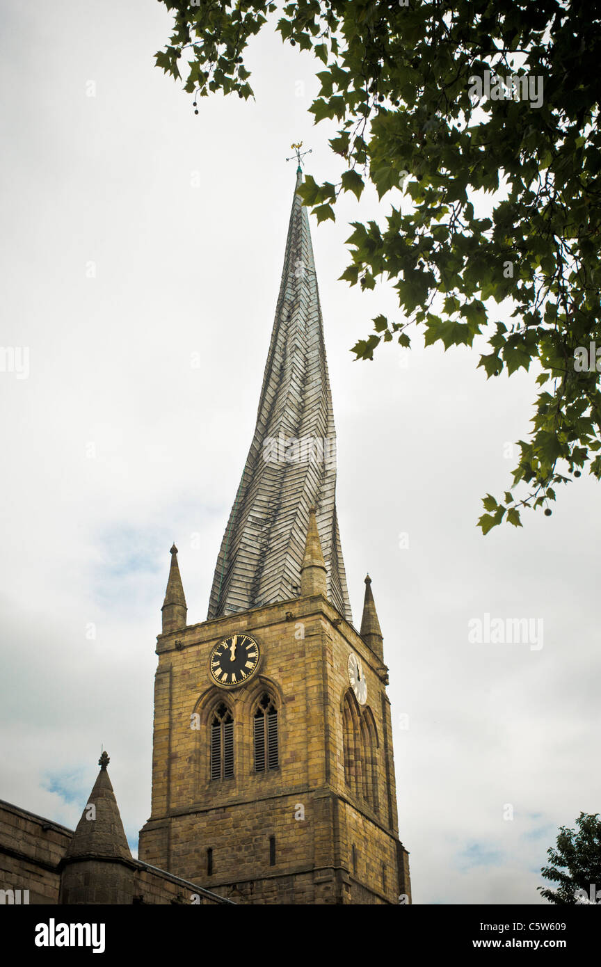 Chesterfield Parish Church with crooked spire Stock Photo
