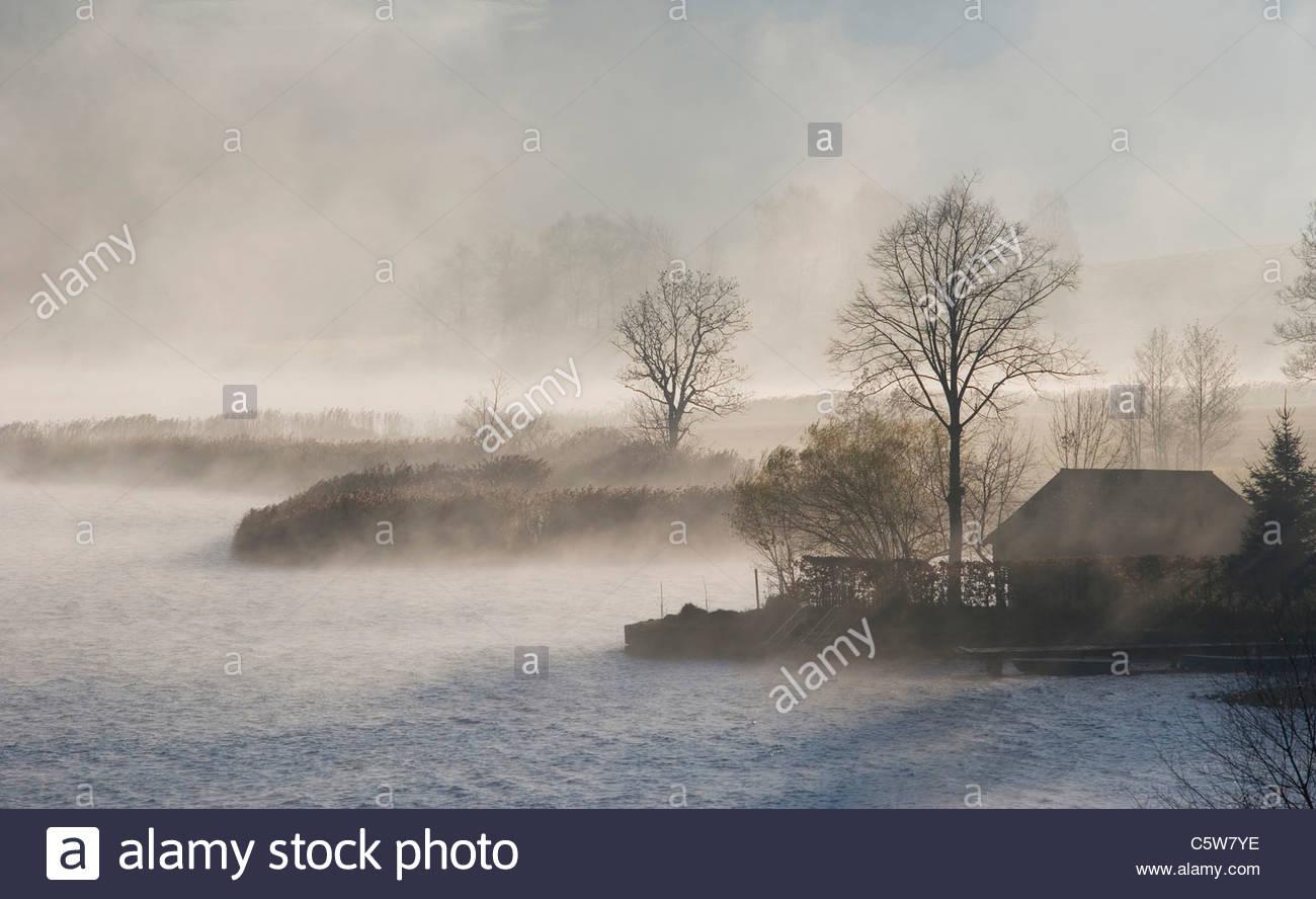 Austria, Salzkammergut, Lake Irrsee, waft of mist - Stock Image