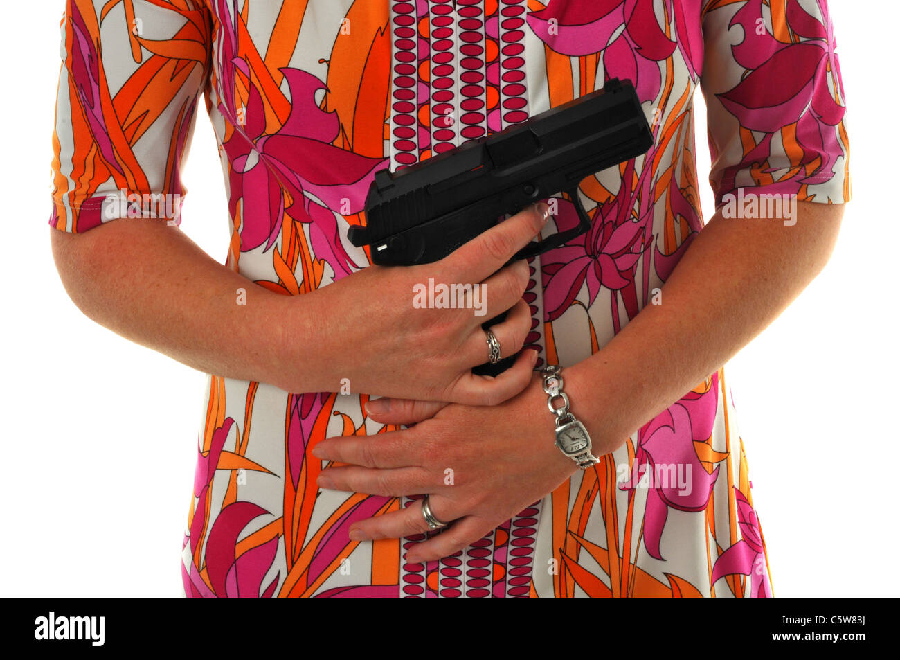 Woman with a gun - Stock Image
