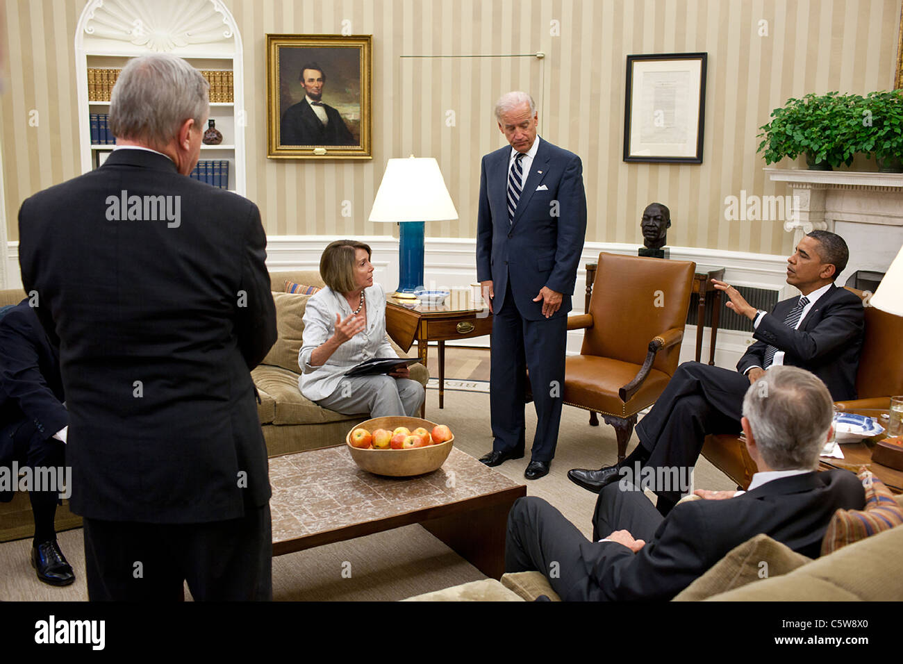 President Barack Obama and Vice President Joe Biden meet the Democratic leadership on the debt crisis - Stock Image