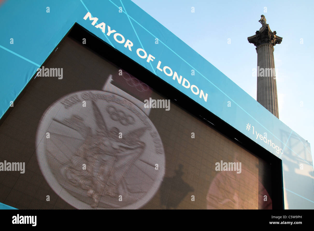 UK. London 2012 Olympics medals unveiled at 1 year to Olympic count down ceremony in Trafalgar Sq - Stock Image