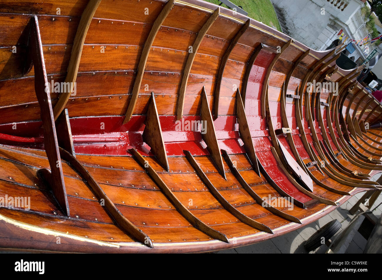 Newly Varnished Rowing Boat Interior at Richmond - Stock Image