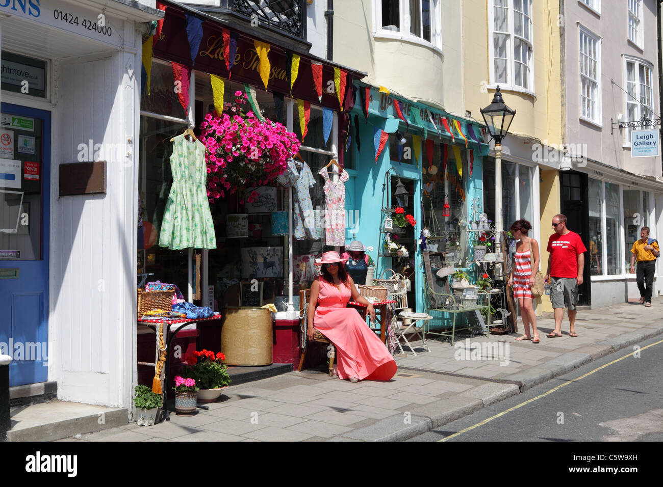 Vintage clothing and collectibles shops in Hastings Old Town, East Sussex, England, UK, GB - Stock Image