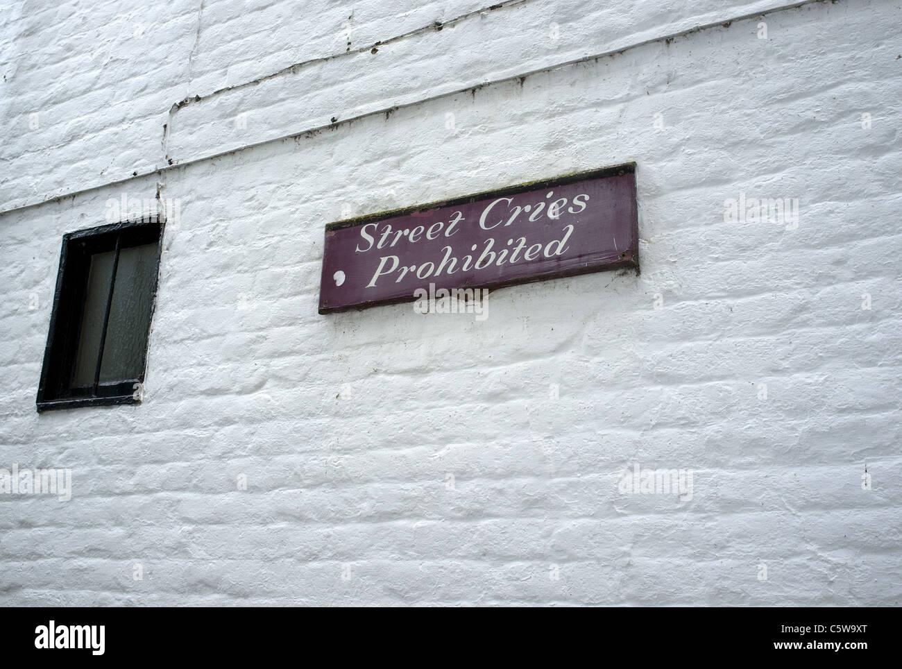 Street Cries Prohibited Sign on Wall of The White Swan Pub, Twickenham, London Borough of Richmond, UK - Stock Image