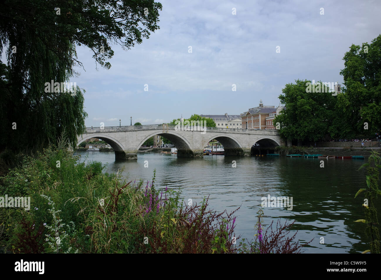 Richmond Bridge from The Thames Path -1 - Stock Image