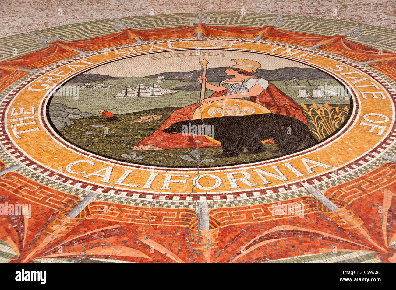 The Great Seal of the State of California on the floor of the mezzanine, Ferry Building, San Francisco, California - Stock Image