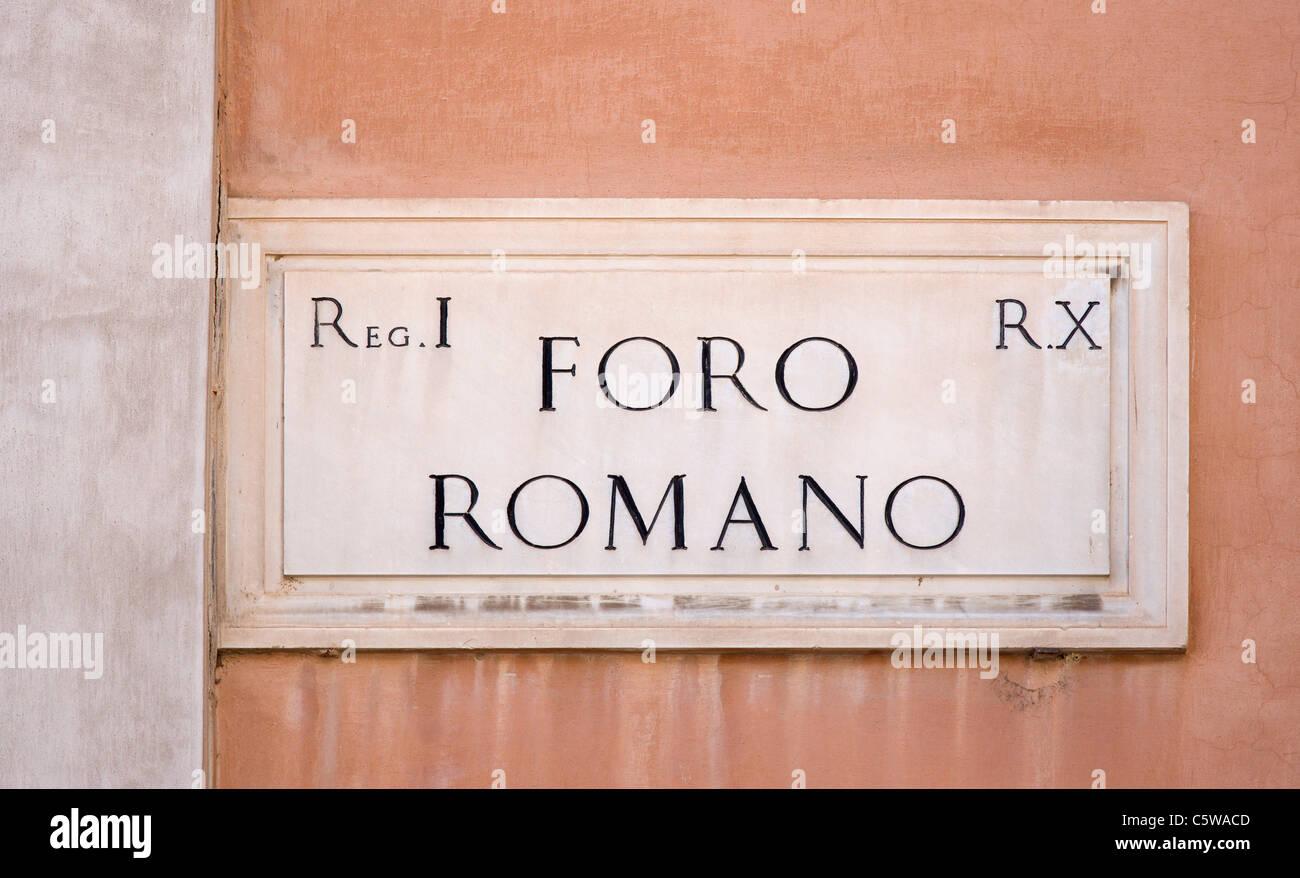 Italy, Rome, road sign on wall, Foro Romano, Roman Forum, close up - Stock Image