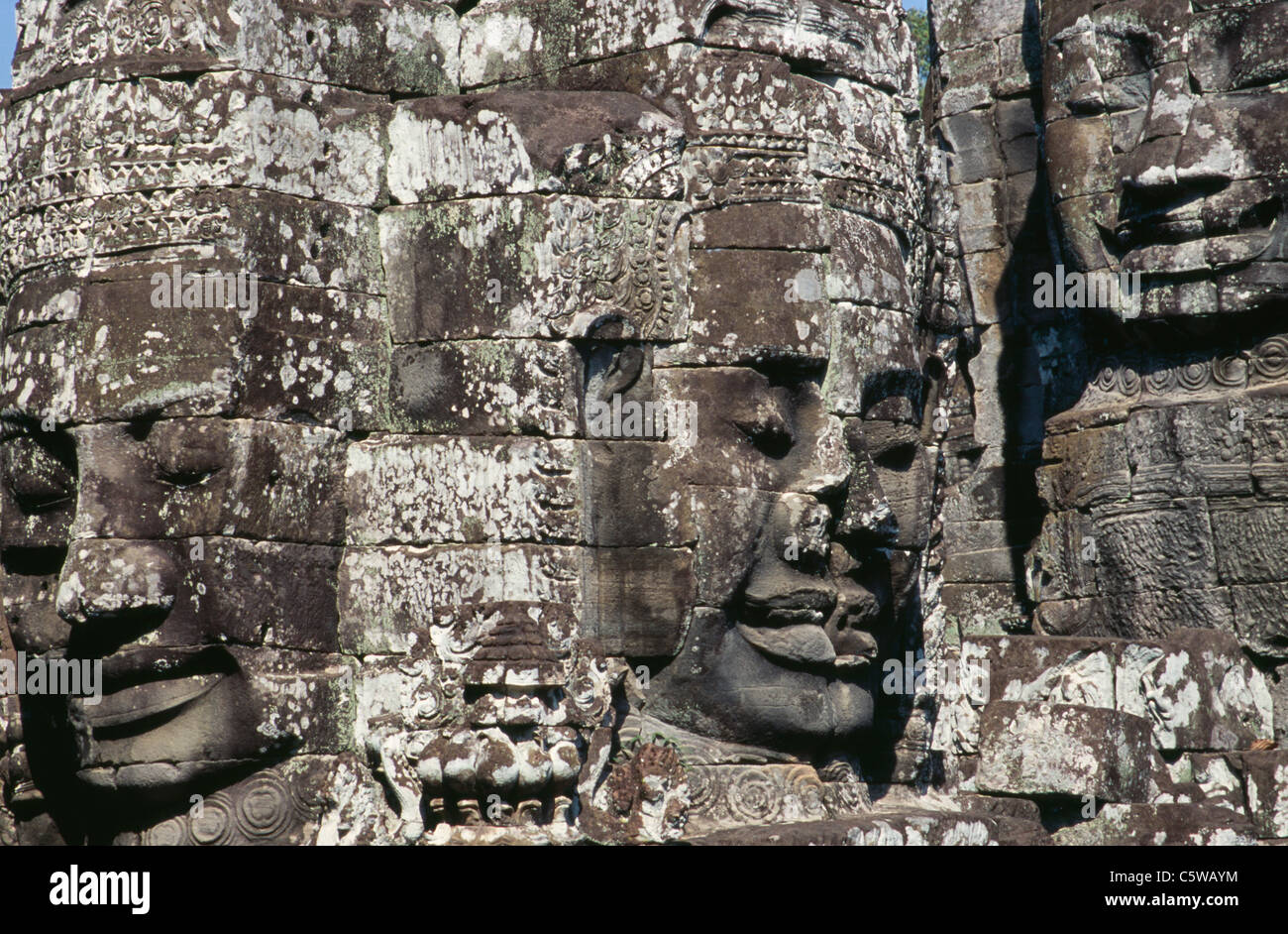 Cambodia, Siem Reap, Bayon Temple, Relief carvings - Stock Image