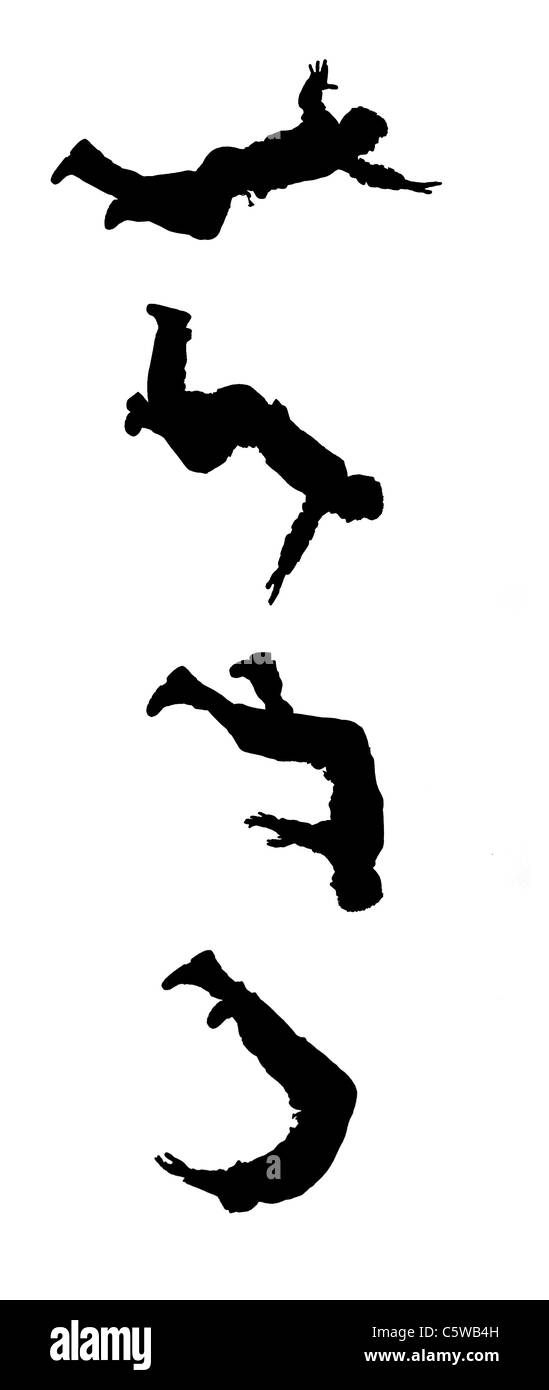 Silhouettes taken from photos of a stuntman at different stages of one jump. - Stock Image