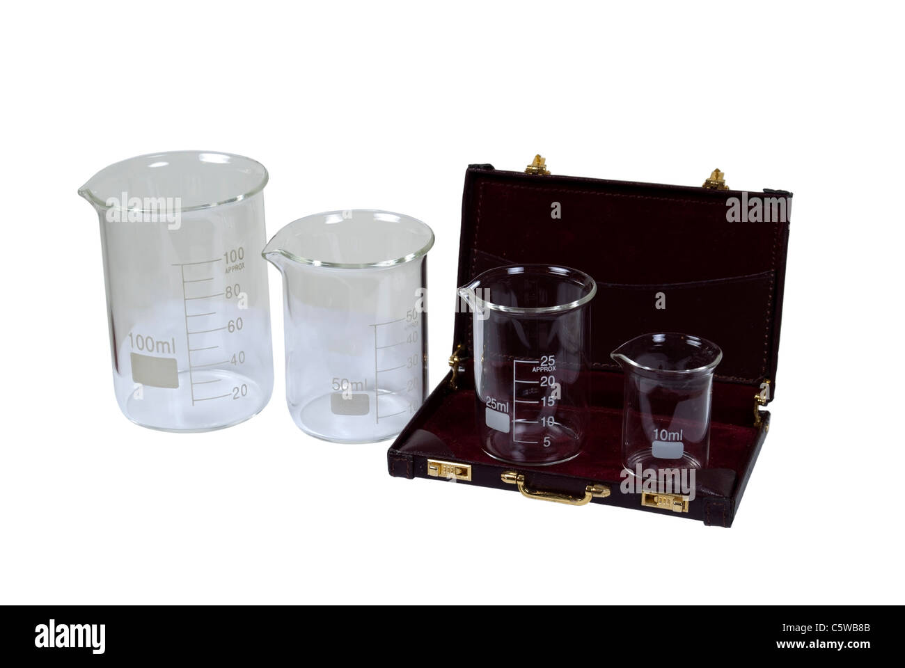 Beakers used to measure and store liquids during research projects in a briefcase - path included - Stock Image
