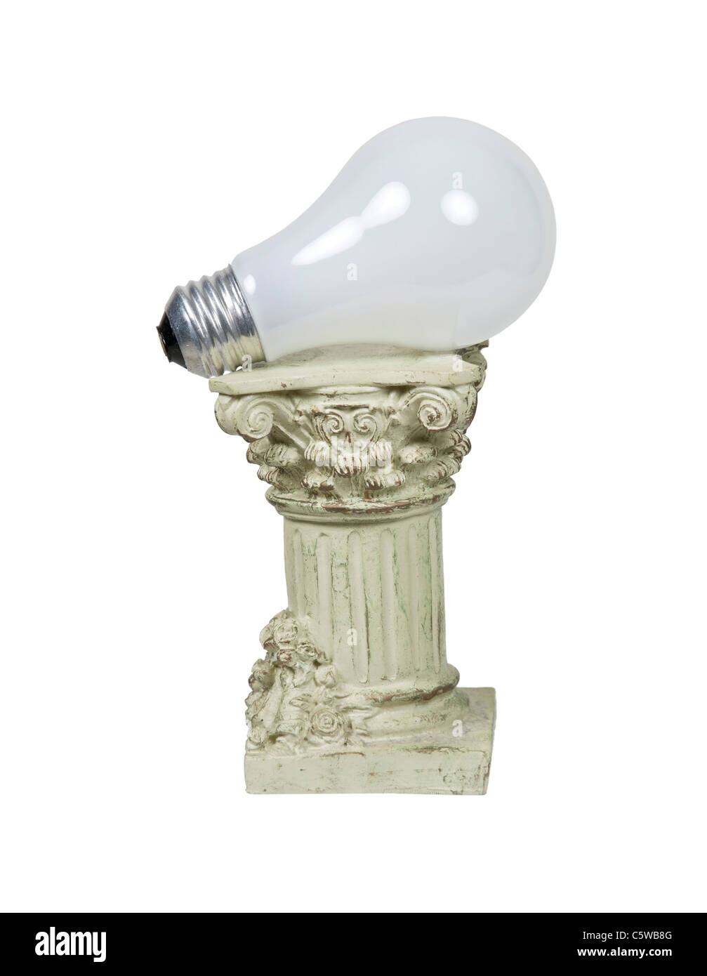 Retro power shown by a round light bulb on a stone formal pedestal for raising up an item of importance - path included - Stock Image