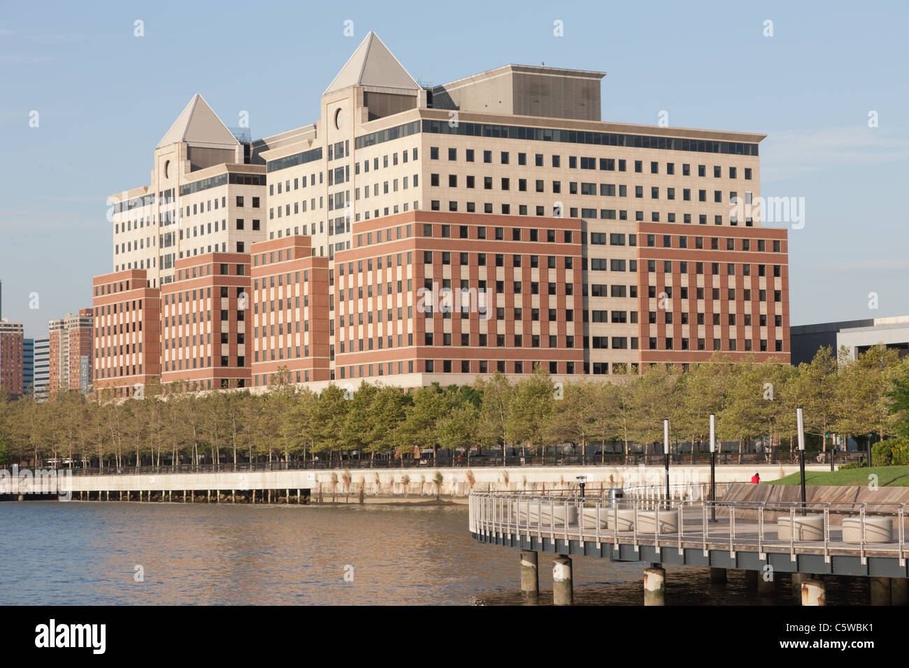 Waterfront redevelopment including the Hoboken Waterfront Corporate Center I and II in Hoboken, New Jersey. - Stock Image