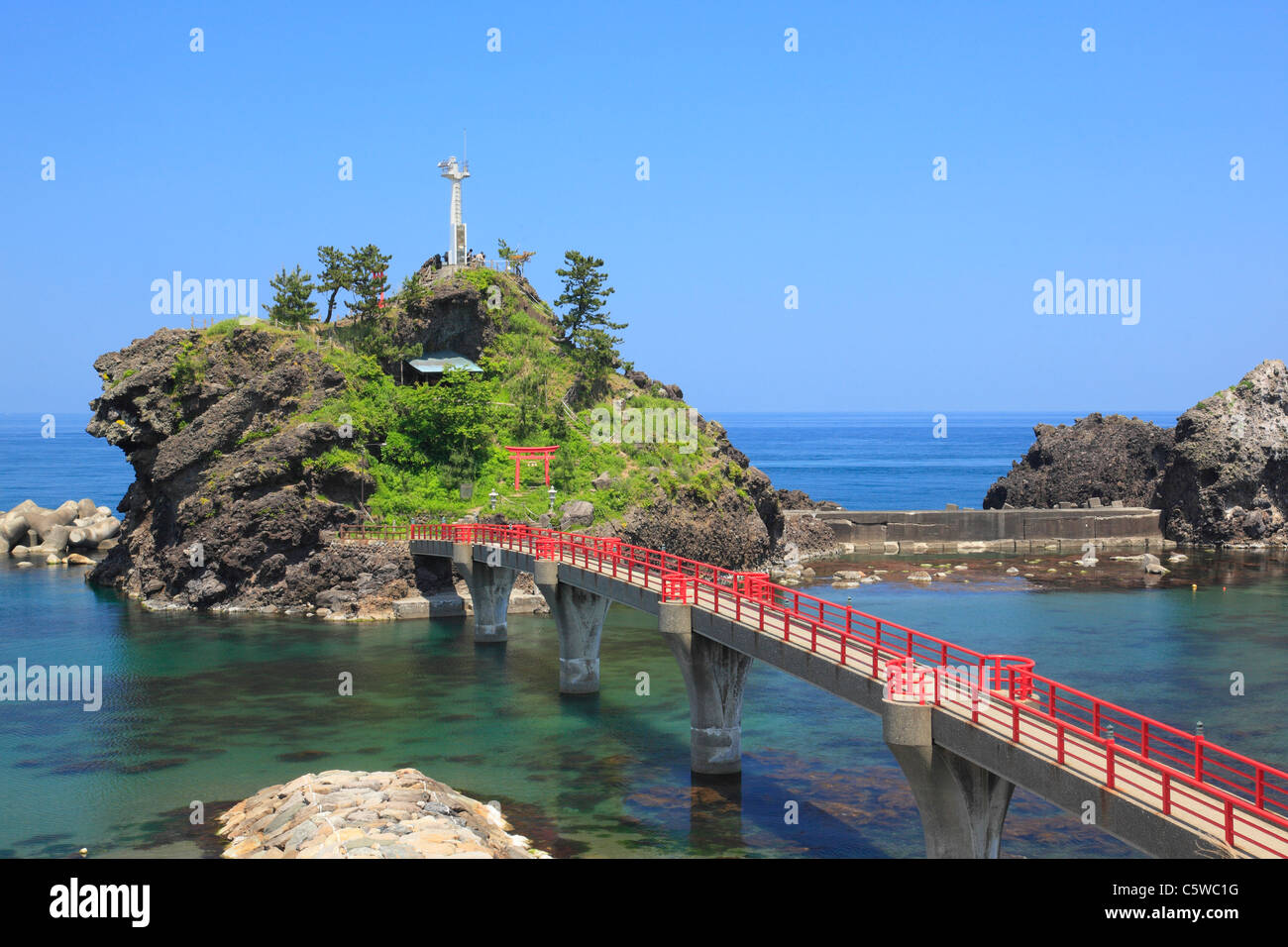 Nou Beach and Benten Rock, Itoigawa, Niigata, Japan - Stock Image