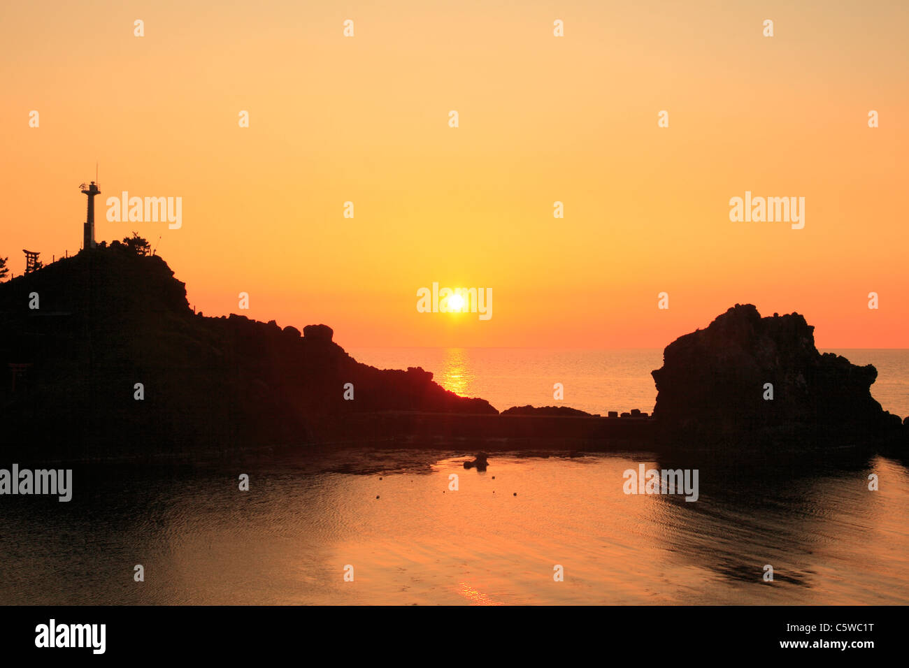 Evening View of Nou Beach and Benten Rock, Itoigawa, Niigata, Japan - Stock Image