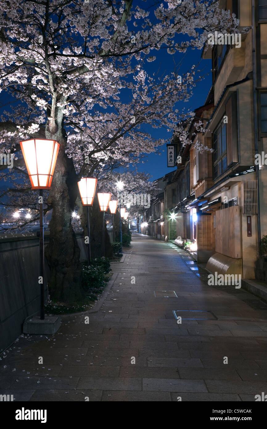 Night View of Kazue-machi Chaya District, Kanazawa, Ishikawa, Japan - Stock Image