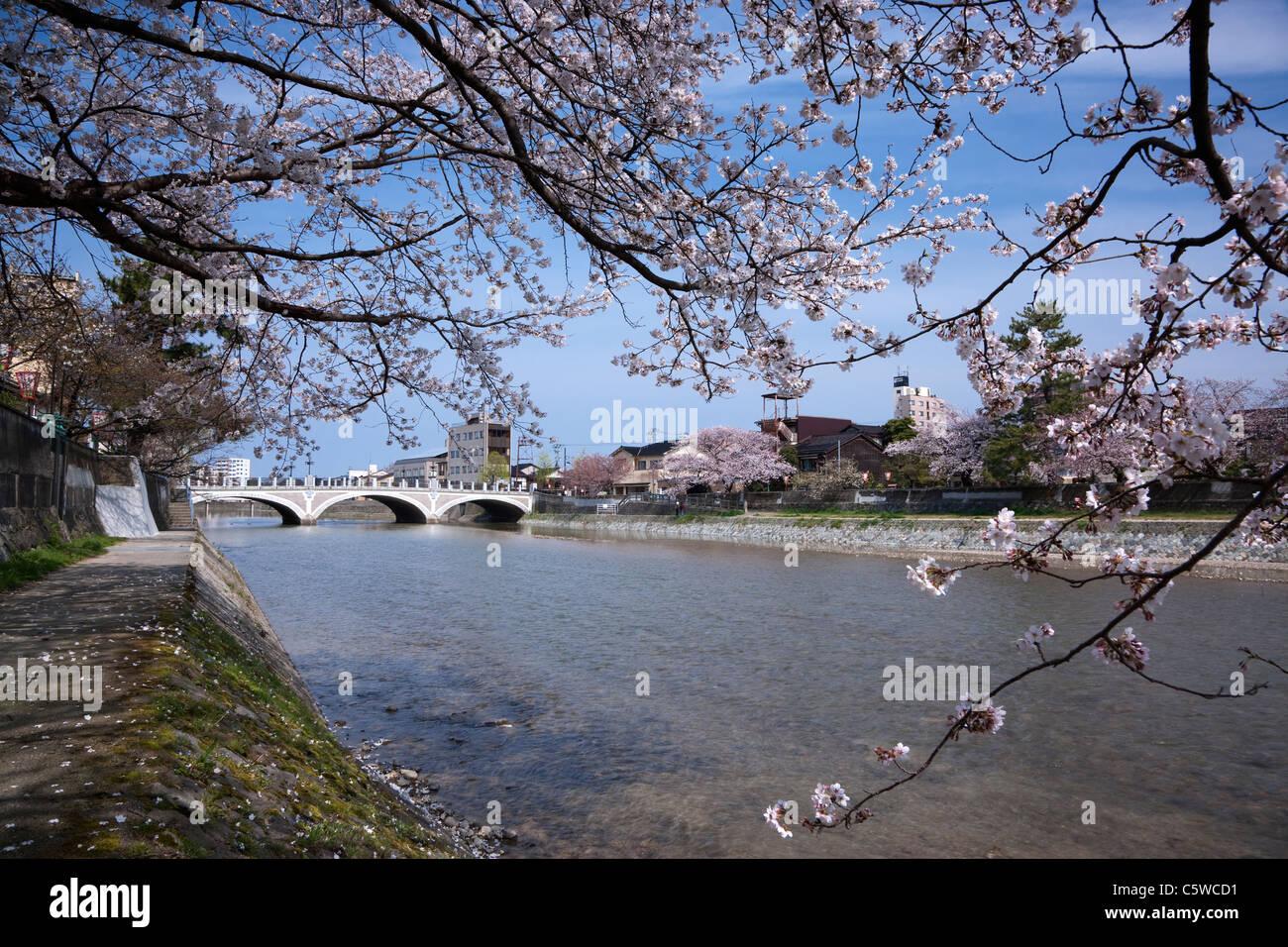 Asano River and Asanogawa Ohashi Bridge, Kanazawa, Ishikawa, Japan - Stock Image