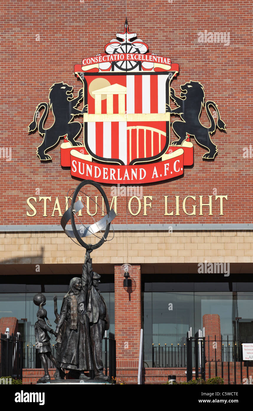 Sunderland foot ball club's crest at the Stadium of Light, Tyne and Wear, north east England, UK - Stock Image