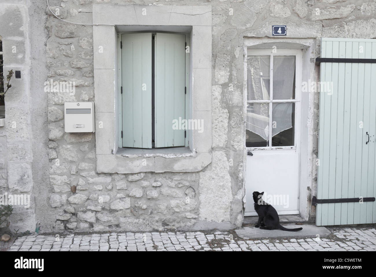 Superieur France, Provence, Cat Sitting In Front Of Entry Door