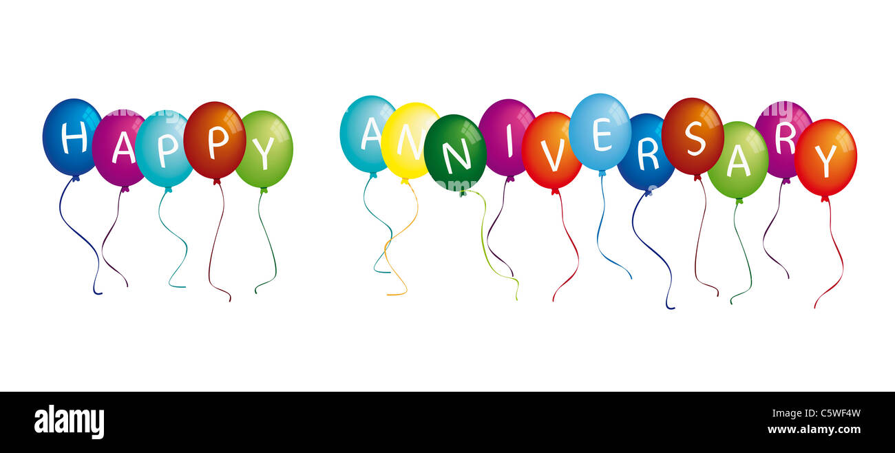 Happy anniversary on colourful balloons against white background - Stock Image