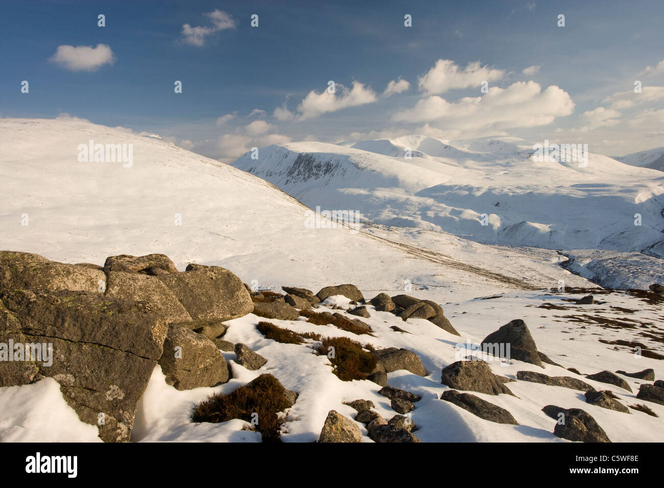 Braeriach and Lairig Ghru in winter, Grampian Mountains, Cairngorms National Park, Scotland, Great Britain. - Stock Image