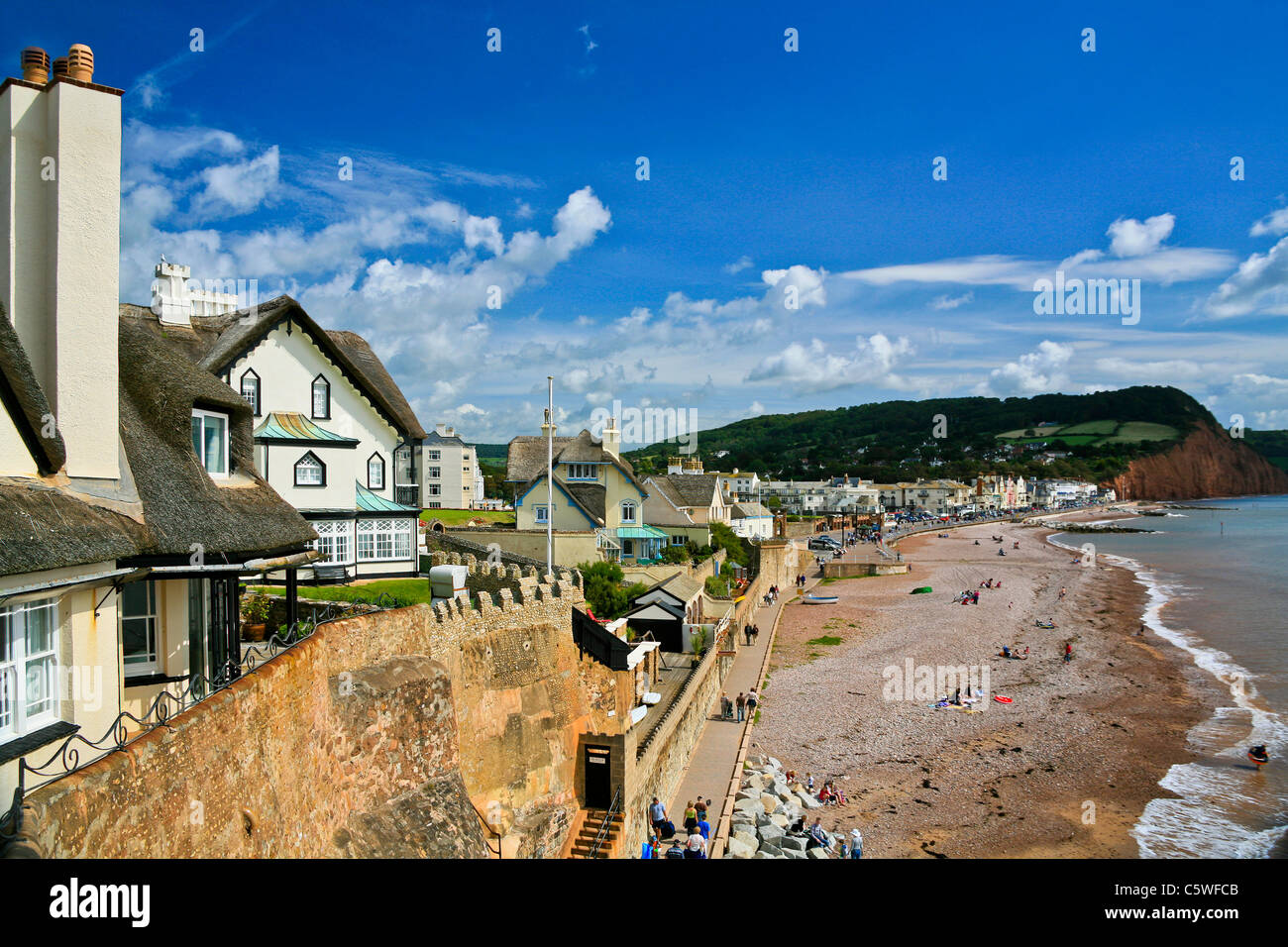 The beach at Sidmouth, Devon, England, UK - Stock Image